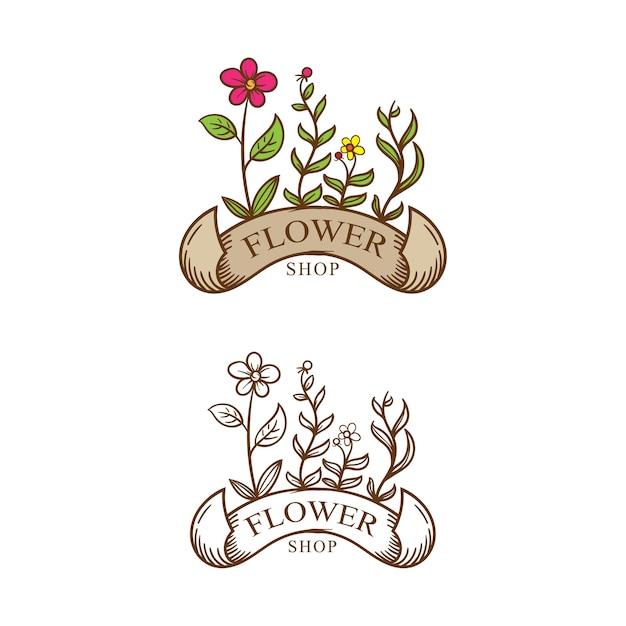 Logotipo De Tienda De Flores Vintage Descargar Vectores Premium