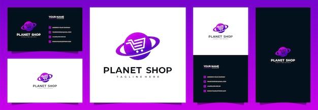 Logotipo de la tienda online y tarjeta de visita, con concepto de planeta y carro Vector Premium