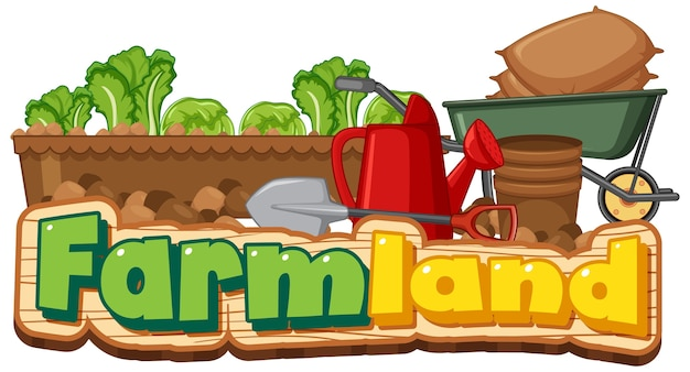 Logotipo de tierras de cultivo o banner con herramientas de jardinería aisladas en blanco vector gratuito