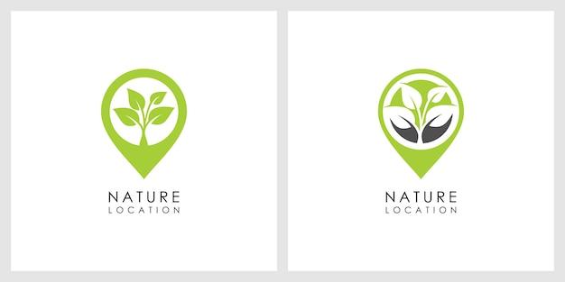 Logotipo de ubicación de la naturaleza Vector Premium