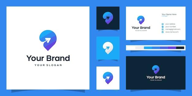 Logotipo de viaje colorido y plantilla de tarjeta de visita Vector Premium
