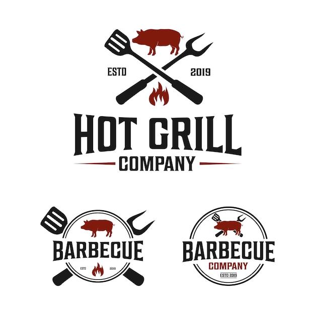Logotipo vintage de la empresa barbacoa con espátula y tenedor. Vector Premium