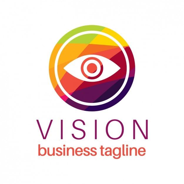 Logotipo visión del ojo en estilo colorido vector gratuito