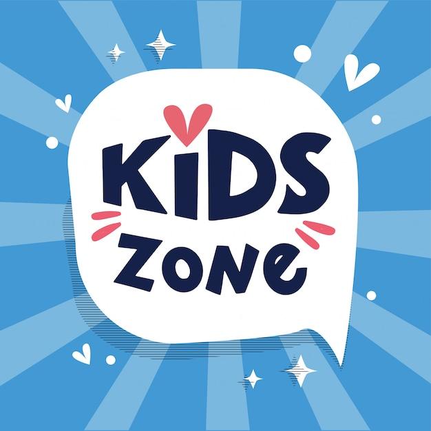 Logotipo de zona infantil, pancarta en bocadillo con rayos, composición de letras dibujadas a mano Vector Premium