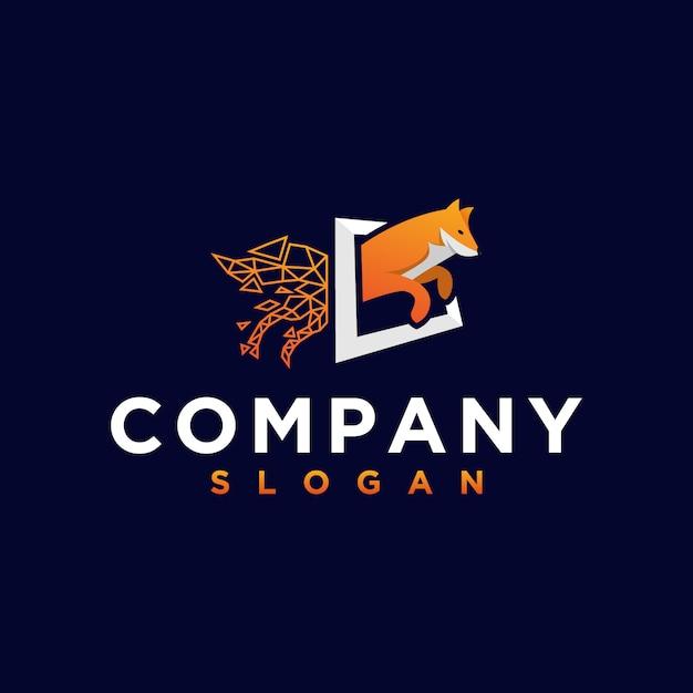 Logotipo de zorro naranja Vector Premium