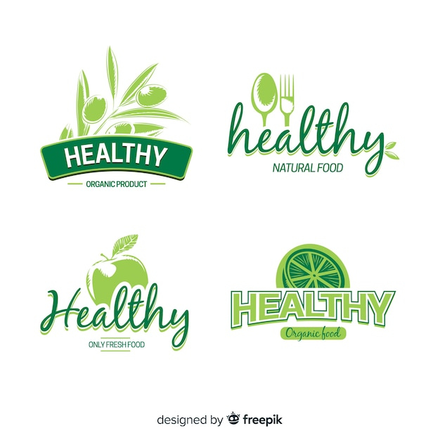 Logotipos de cocina saludable y vegano vector gratuito