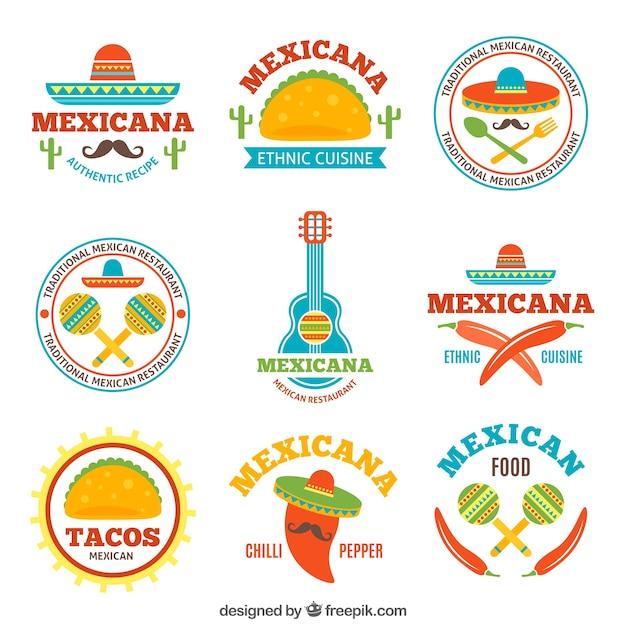 Logotipos De Comida Mexicana Sabrosa Vector Premium