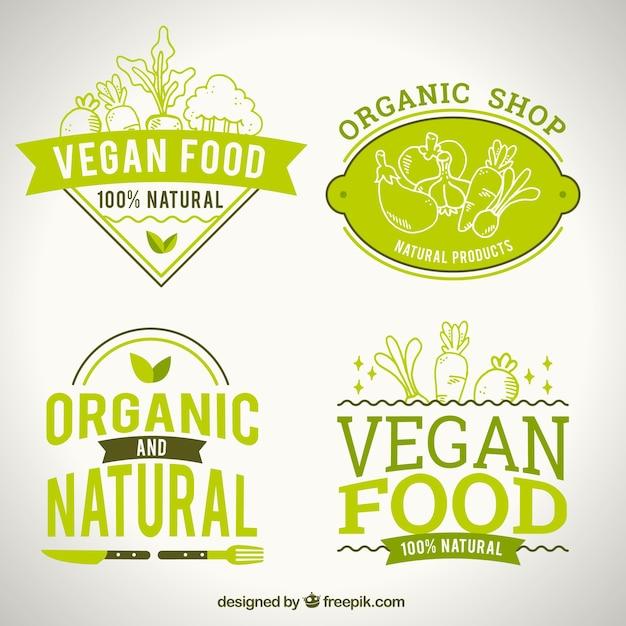 Logotipos de comida natural para restaurante vegano vector gratuito