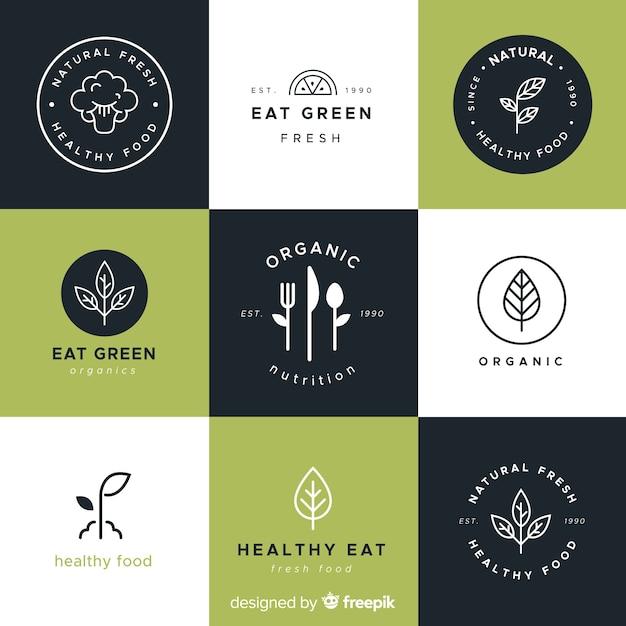 Logotipos de comida saludable dibujados a mano vector gratuito
