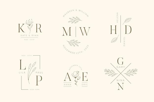 Logotipos elegantes de boda vector gratuito