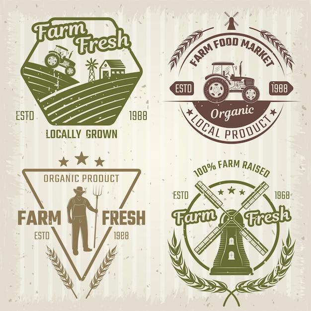 Logotipos de estilo retro de granja vector gratuito