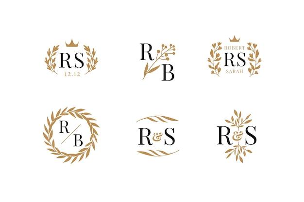 Logotipos florales de boda Vector Premium