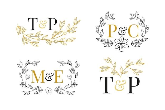 Logotipos florales de boda vector gratuito