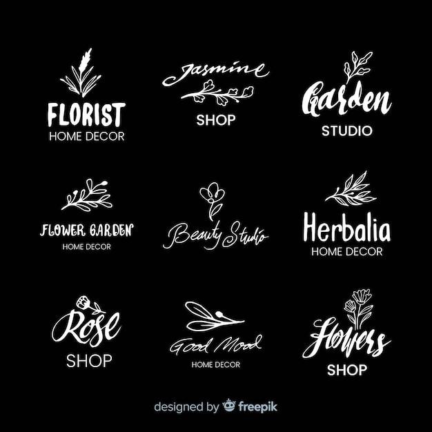 Logotipos de floristería de boda negro vector gratuito