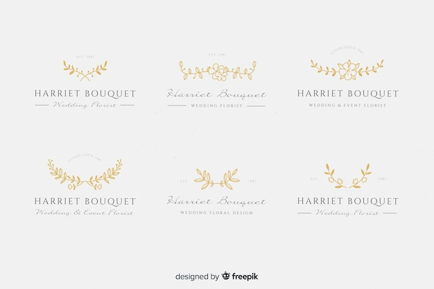 Logotipos de floristería de boda de oro vector gratuito