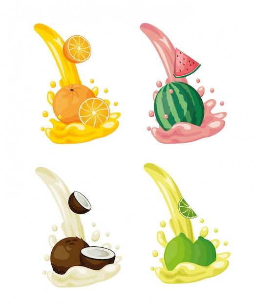 Logotipos de frutas tropicales vector gratuito
