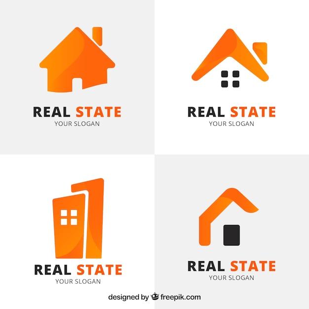 Logotipos de inmobiliaria anaranjados vector gratuito