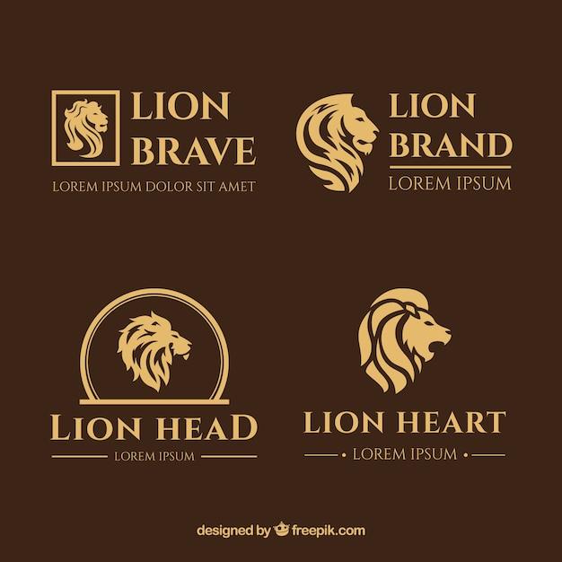 Logotipos león, estilo elegante con un fondo marrón vector gratuito