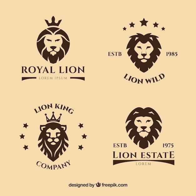 Logotipos león con estrellas vector gratuito