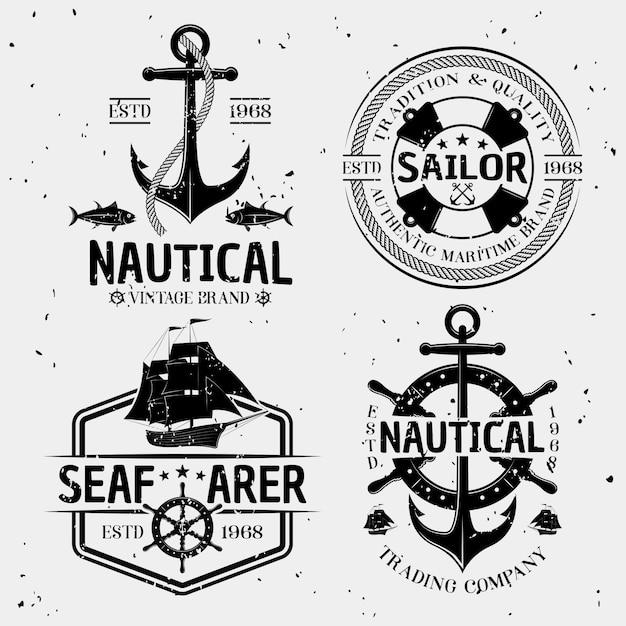 Logotipos monocromáticos náuticos vector gratuito