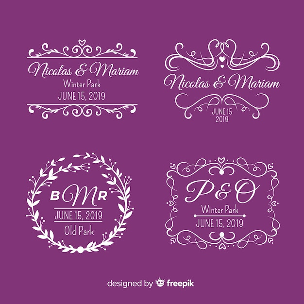 Logotipos de monograma de boda púrpura vector gratuito