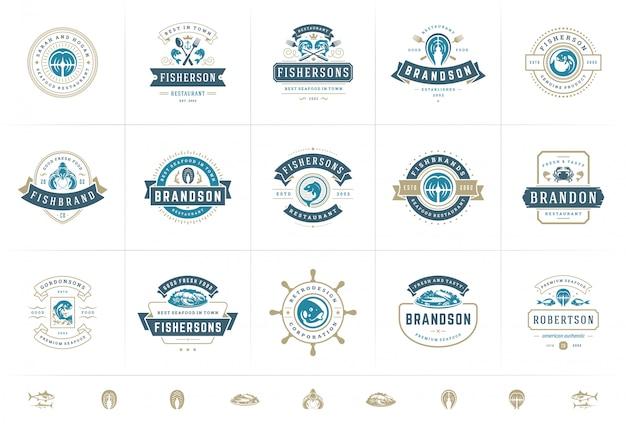 Logotipos o signos de mariscos establecen plantillas de emblemas de mercado de pescado y restaurante de ilustración vectorial Vector Premium