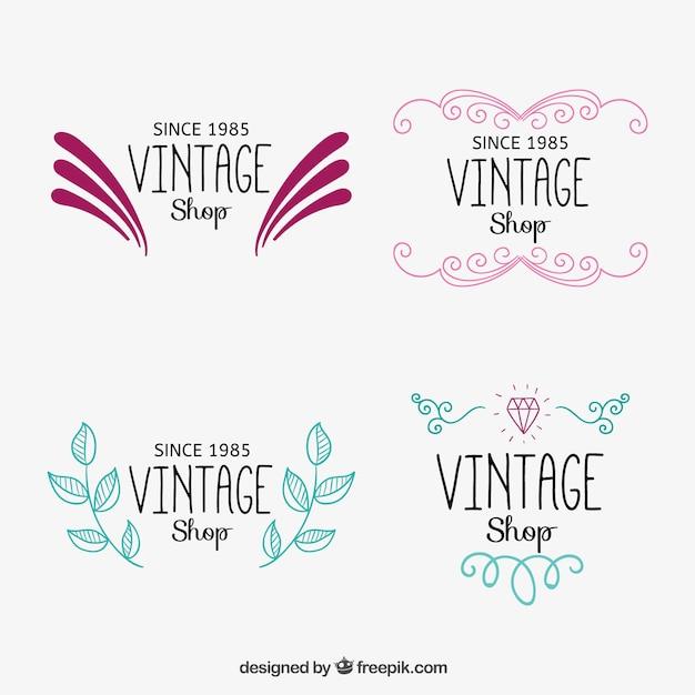Logotipos tienda vintage ornamentales descargar vectores for Logos para editar