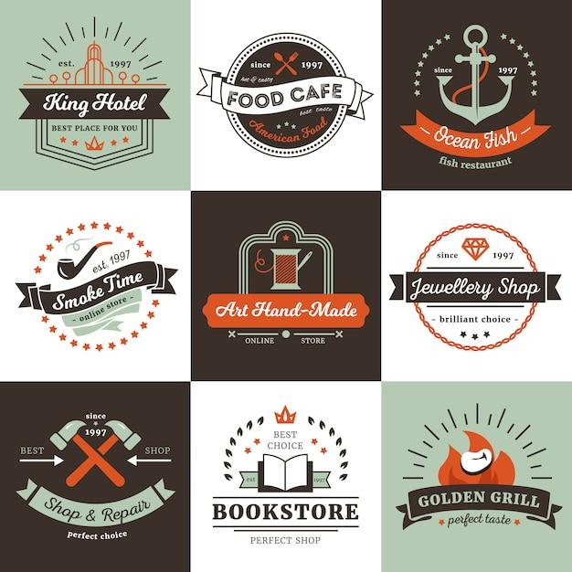 Logotipos vintage de tiendas hotel y concepto de diseño de cafetería con cintas de rayos vector gratuito
