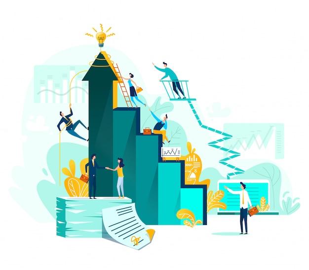Logro objetivo y trabajo en equipo empresarial. vector gratuito