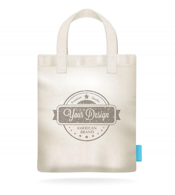 Lona blanca natural maqueta plantilla de bolsa de compras vector gratuito