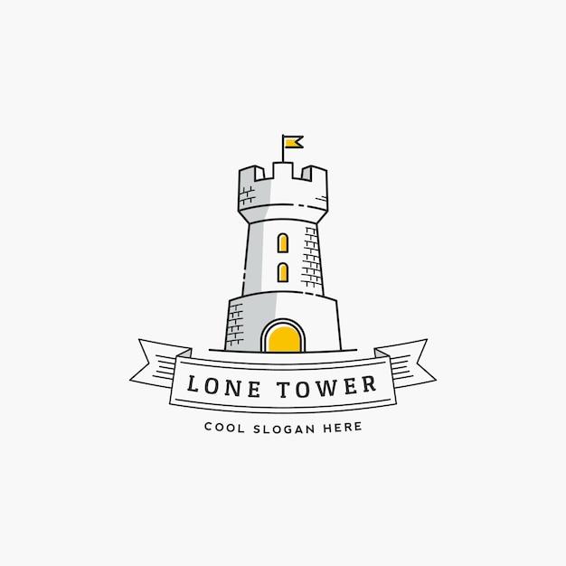 Lone tower resumen signo, icono, etiqueta o plantilla de logotipo en estilo de línea. fortaleza con un estandarte de bandera y tipografía. Vector Premium