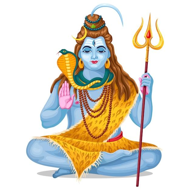 Lord shiva vacaciones maha shivratri. vector gratuito
