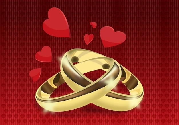 los anillos de boda de vectores Vector Gratis