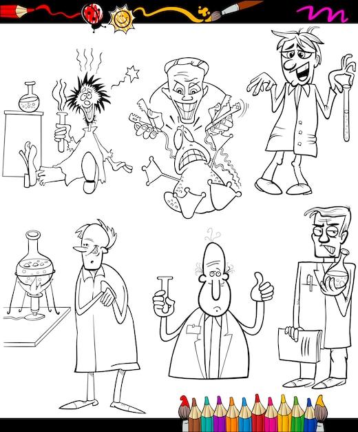 Los científicos establecen libro de colorear de dibujos animados ...