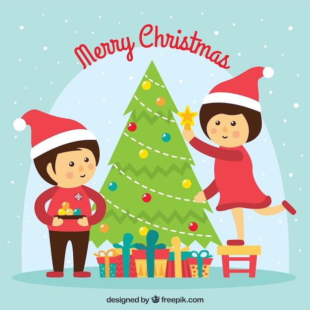 Los ni os decorando el rbol de navidad descargar - Arbol de navidad para ninos ...