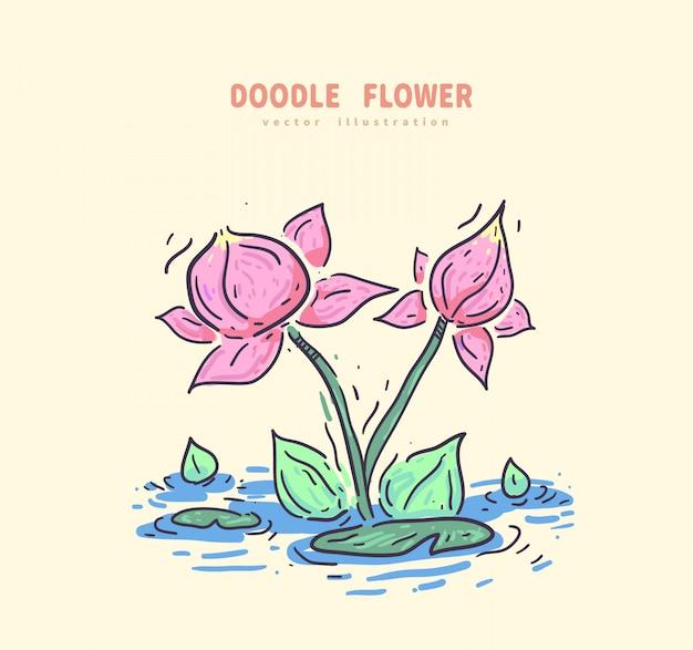 Loto del doodle con flor verde Vector Premium