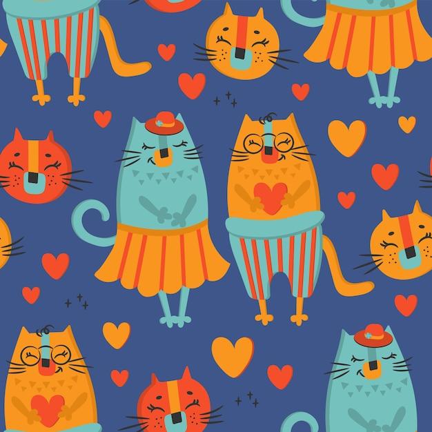 Love cat hand drawn cartoon animal lindo de patrones sin fisuras Vector Premium