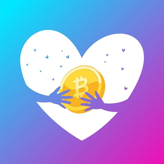 Love gold bitcoin monedas Vector Premium