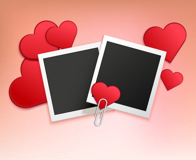 Love photo frame composition vector gratuito