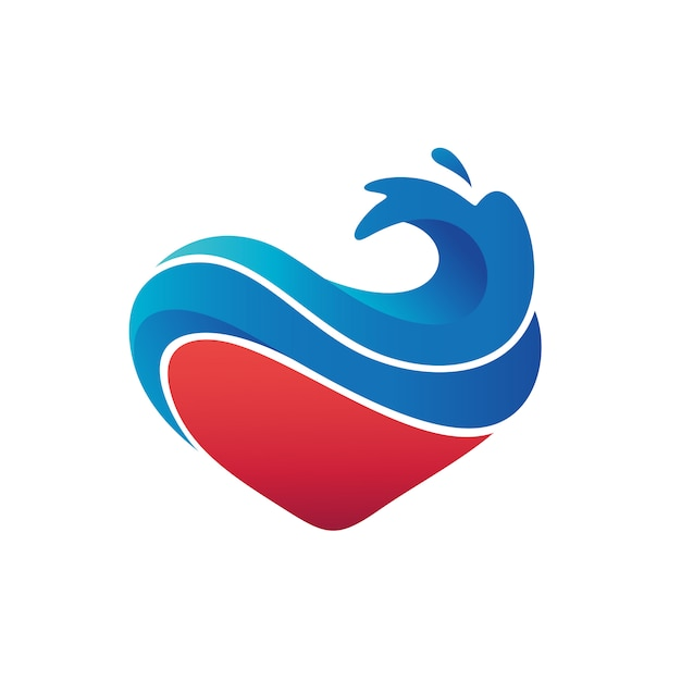 Love waves logo vector Vector Premium