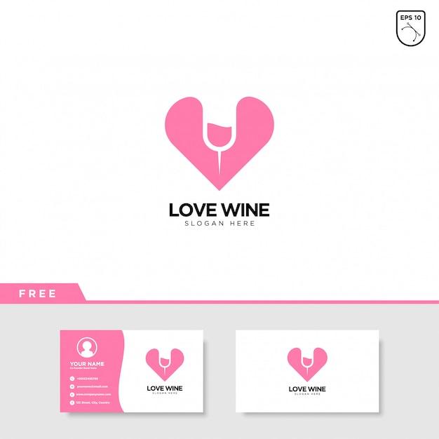 Love wine logo design Vector Premium