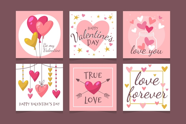 Lovely valentine's day instagram post set Vector Premium