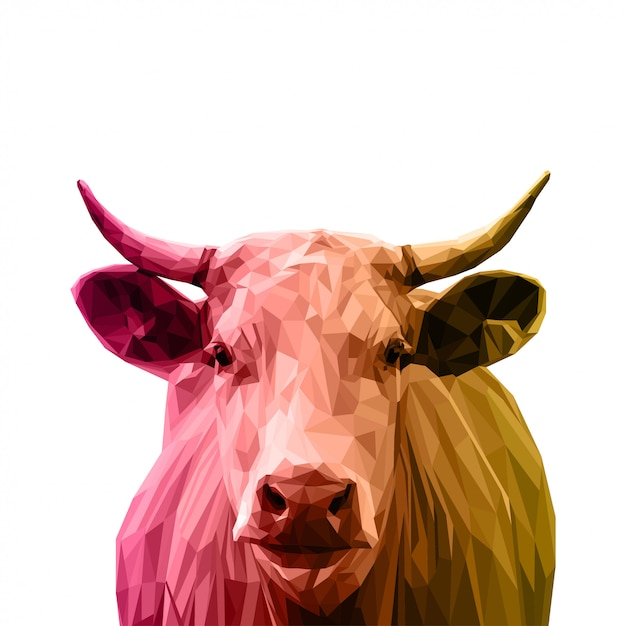 Low poly art cow Vector Premium