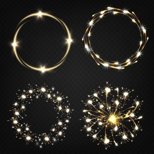 Luces de bengala encendidas, efectos pirotécnicos, luces mágicas moviéndose en círculo. vector gratuito