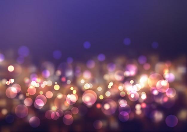 Luces brillantes de bokeh Vector Premium