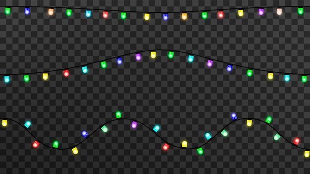 Luces brillantes para navidad, decoraciones de guirnaldas Vector Premium