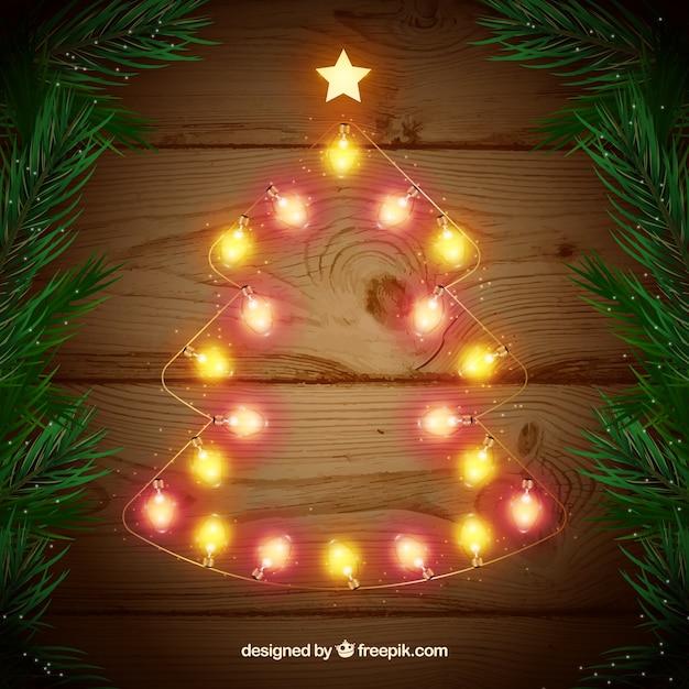 Luces de navidad en forma de rbol navide o descargar vectores gratis - Luces arbol de navidad ...