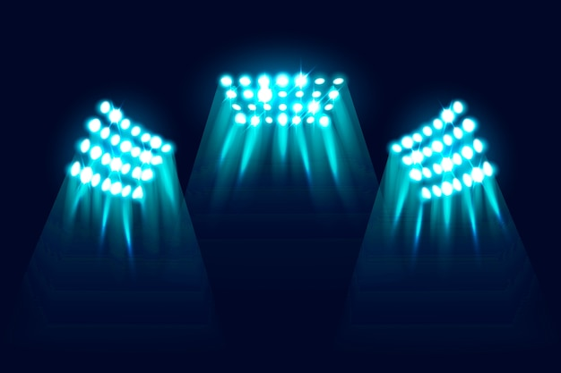 Luces de estadio brillantes realistas vector gratuito