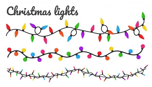 Luces de navidad. coloridas bombillas decorativas para la decoración en una fiesta de navidad. Vector Premium