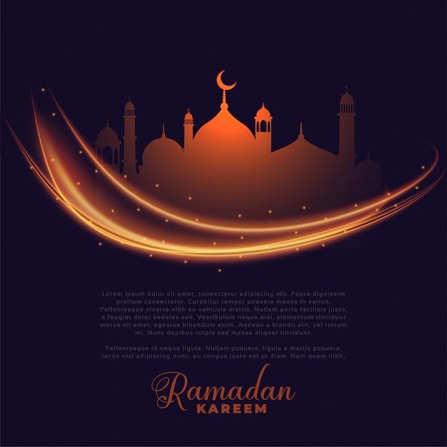 Luces que brillan intensamente de ramadan kareem que saludan diseño vector gratuito